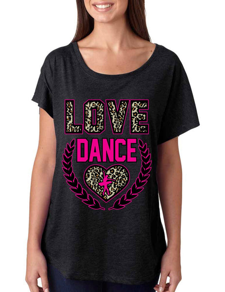Love Dance Leopard Womens Tri-Blend Dolman shirt - ALLNTRENDSHOP - 2