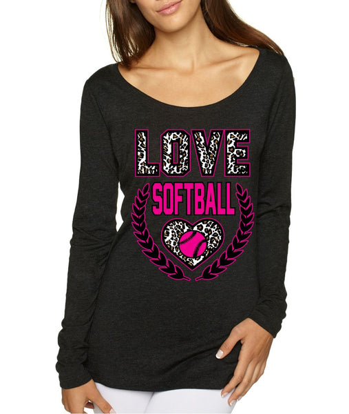 Love Softball Leopard Womens Long Sleeve Shirt - ALLNTRENDSHOP - 4