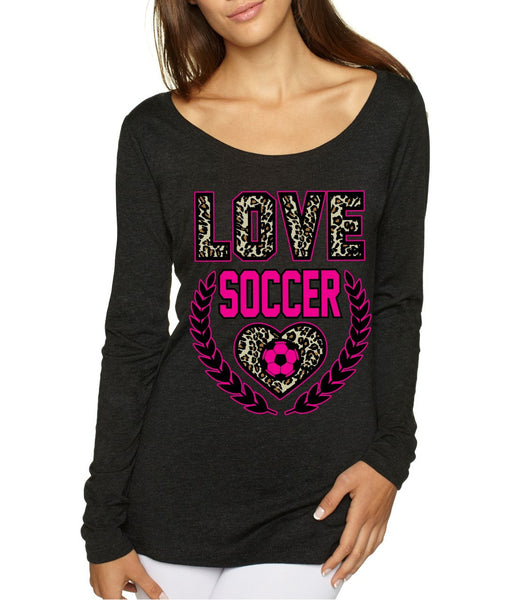 Love SoccerLeopard Womens Long Sleeve Shirt - ALLNTRENDSHOP - 3