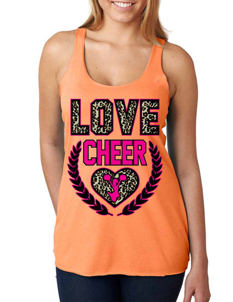 Love Cheer Leopard Womens Triblend Tanktop - ALLNTRENDSHOP - 1