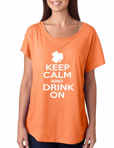 Keep calm and drink on women tri-blend dolman shirt - ALLNTRENDSHOP - 1