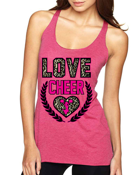 Love Cheer Leopard Womens Triblend Tanktop - ALLNTRENDSHOP - 2