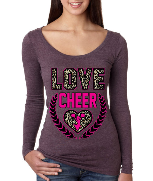 Love Cheer Leopard Womens Long Sleeve Shirt - ALLNTRENDSHOP - 4