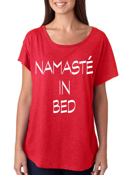 Namaste in bed  women's triblend dolman shirt - ALLNTRENDSHOP - 4