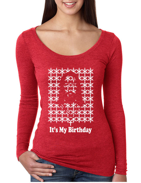 Its my birthday Jesus womens Long Sleeve Shirt - ALLNTRENDSHOP - 3