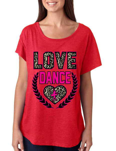 Love Dance Leopard Womens Tri-Blend Dolman shirt - ALLNTRENDSHOP - 3