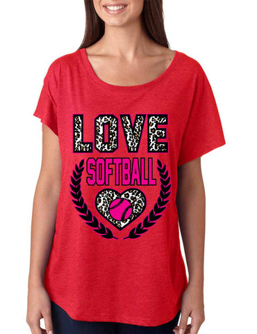 Love Softball Leopard Womens Tri-Blend Dolman shirt - ALLNTRENDSHOP - 1
