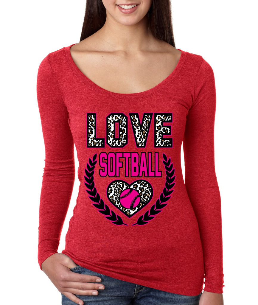 Love Softball Leopard Womens Long Sleeve Shirt - ALLNTRENDSHOP - 1