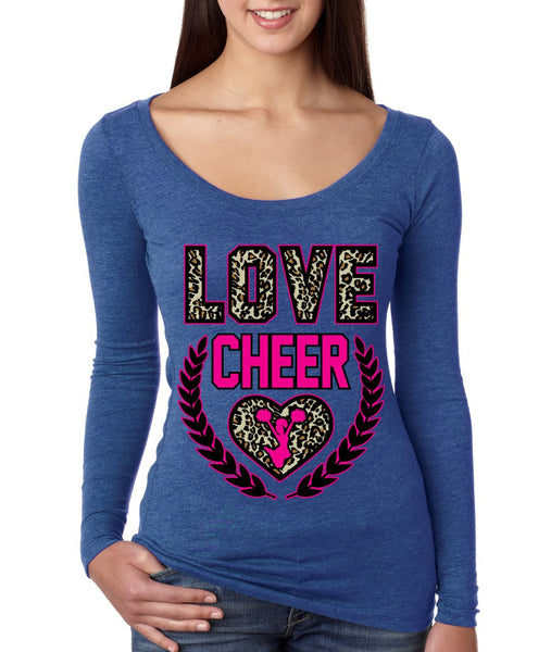 Love Cheer Leopard Womens Long Sleeve Shirt - ALLNTRENDSHOP - 5