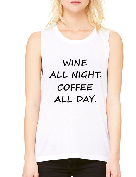 Women's Flowy Muscle Top Wine All Night Coffee All Day Drunk - ALLNTRENDSHOP - 3