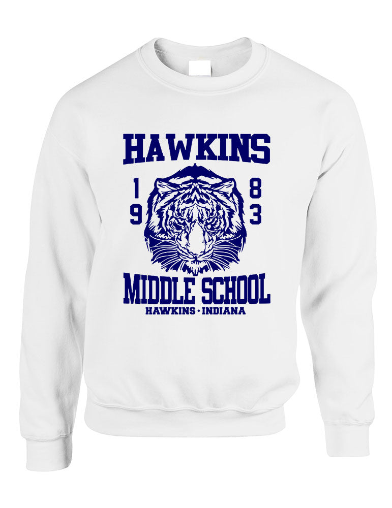 Adult Crewneck Sweatshirt Hawkins Middle School 1983 - ALLNTRENDSHOP - 1