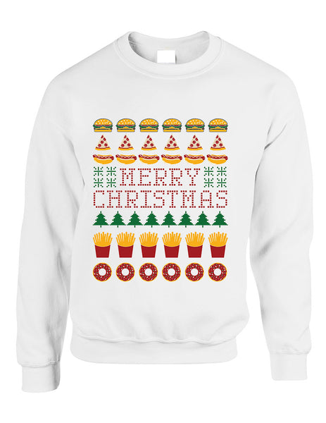 Adult Crewneck Junk Food Merry Christmas Ugly sweater Humor Top - ALLNTRENDSHOP - 4