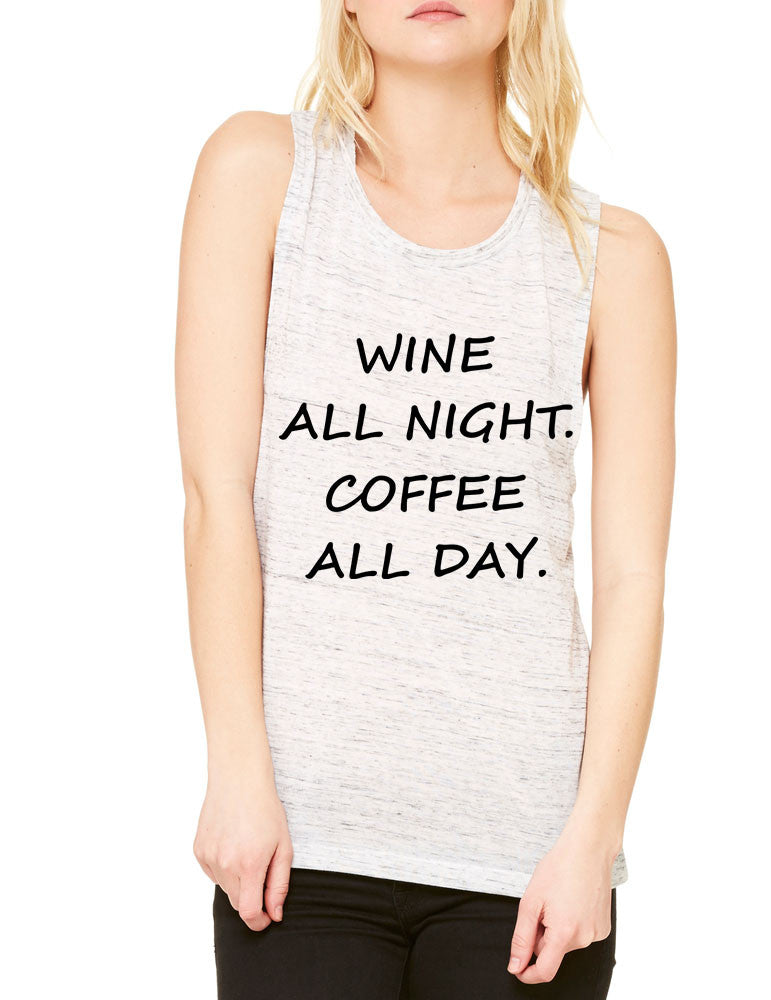 Women's Flowy Muscle Top Wine All Night Coffee All Day Drunk - ALLNTRENDSHOP - 1