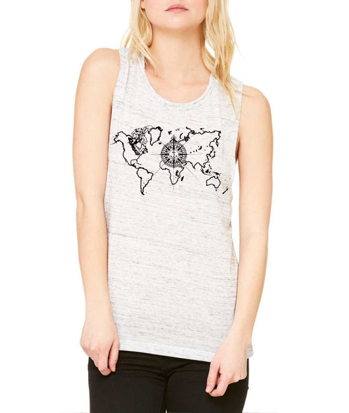 Women's Flowy Muscle Top World Map Compass Cool Tank - ALLNTRENDSHOP - 6