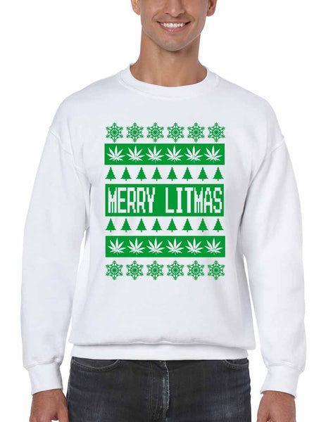 Merry Litmas Green mens sweatshirt - ALLNTRENDSHOP - 3