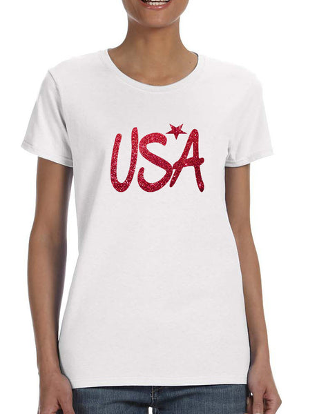 Women's T Shirt USA Red Glitter Love America 4th Of July Tee