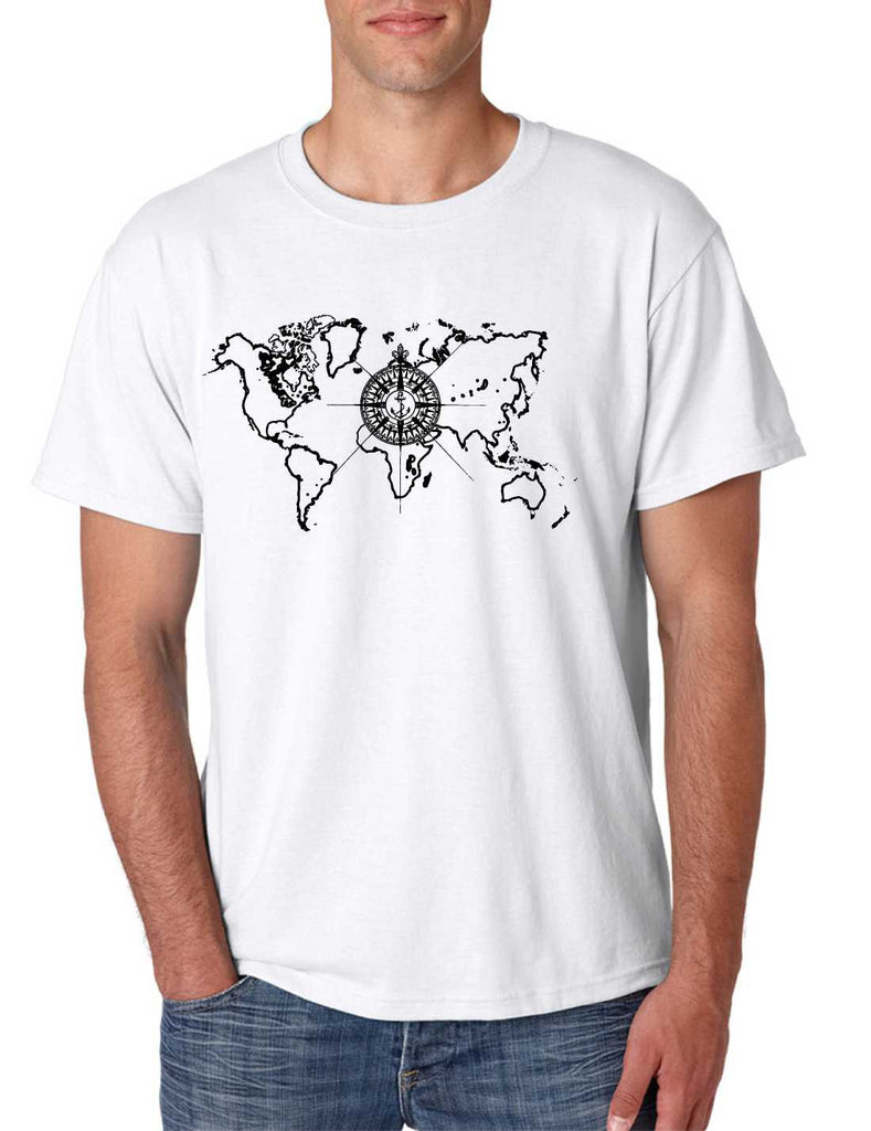 Men's T Shirt World Map Compass Cool Graphic Tee - ALLNTRENDSHOP - 1