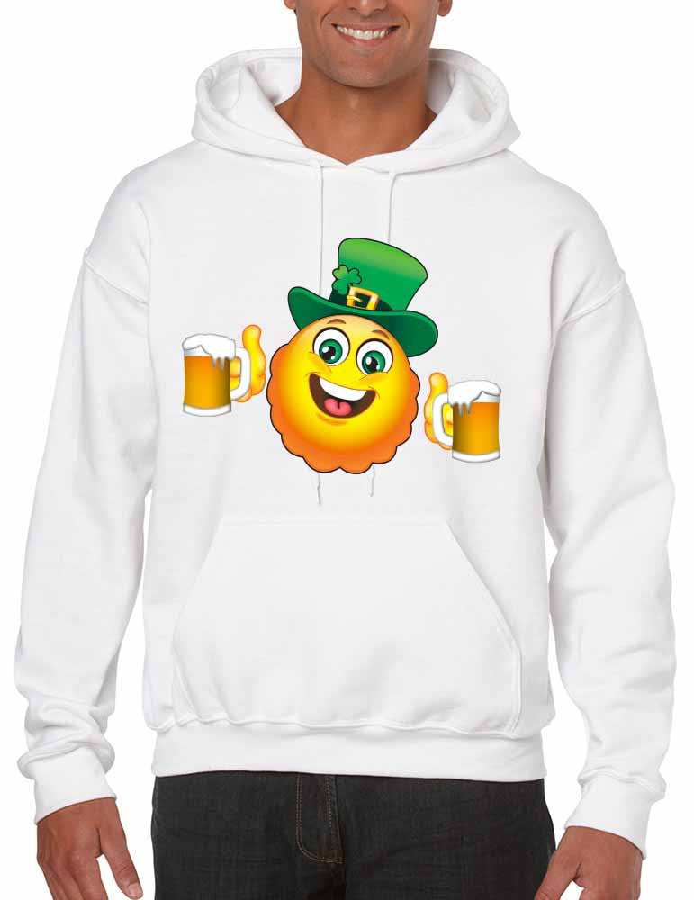 Irish smiling Emoji ST patricks men hooded sweatshirt - ALLNTRENDSHOP - 1