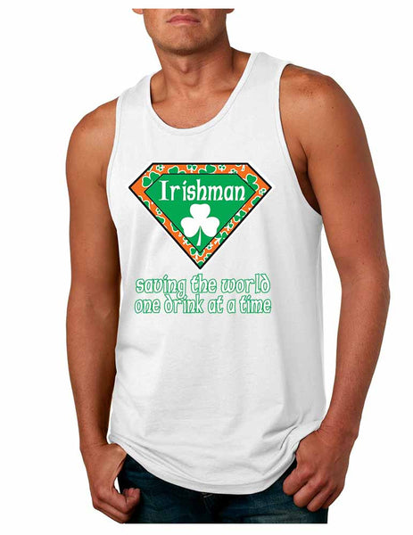 Irishman saving the world st patricks Men jersey tank - ALLNTRENDSHOP - 4