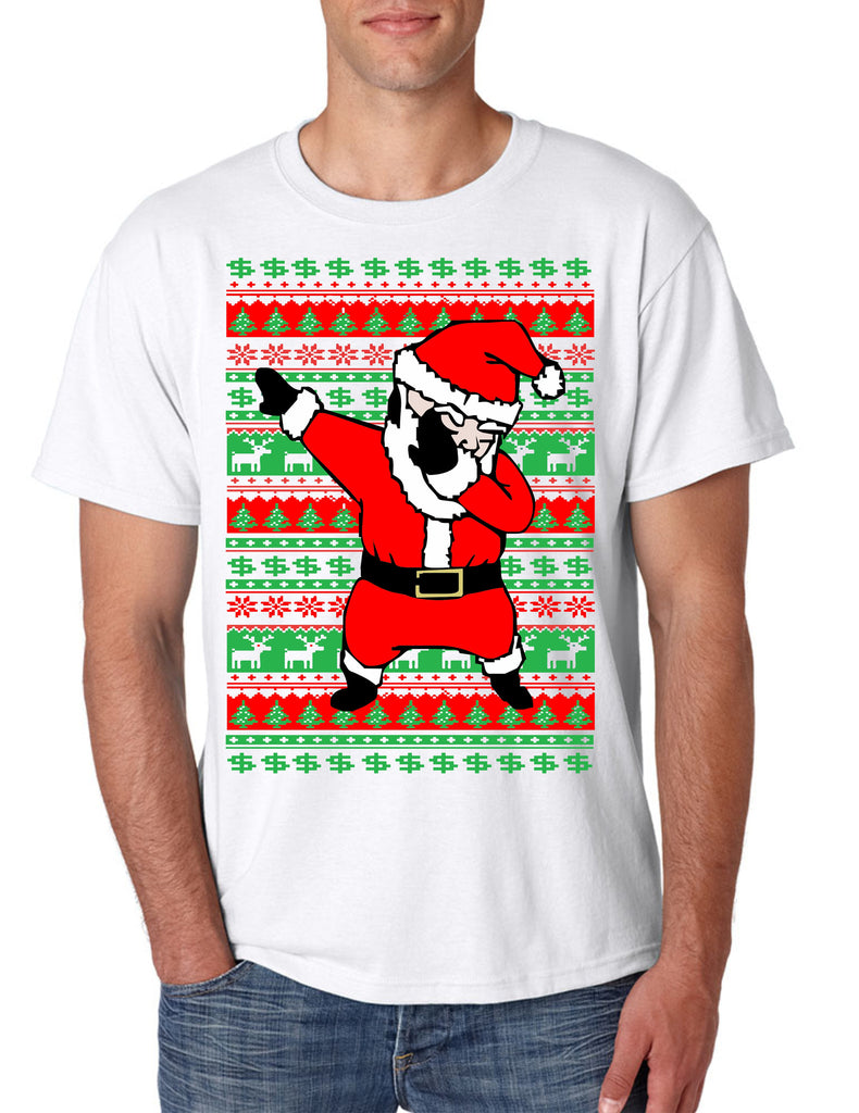 Men's T Shirt Dabbing Santa Ugly Christmas Cool Xmas Tee - ALLNTRENDSHOP - 1