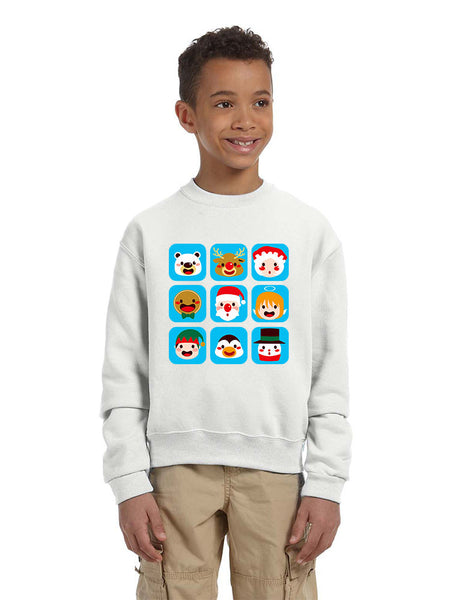 Kids Crewneck Christmas Icons Cute Holiday Symbols Top - ALLNTRENDSHOP - 5