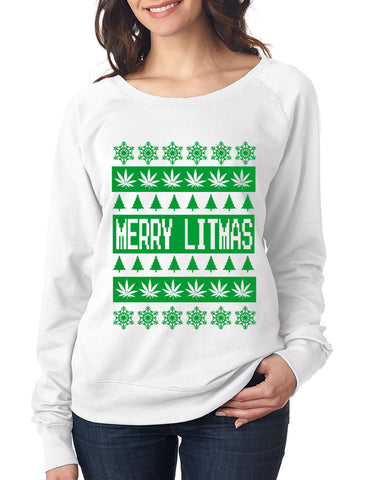 Merry Litmass green womens long sleeve Pullover - ALLNTRENDSHOP - 1