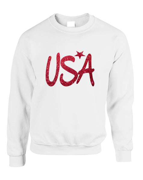 Adult Sweatshirt USA Red Glitter Love America 4th Of July Top