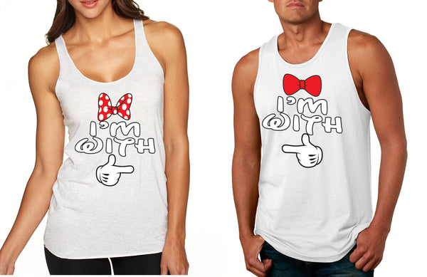 Im with him Im with her couples tanktops Valentines day - ALLNTRENDSHOP - 5