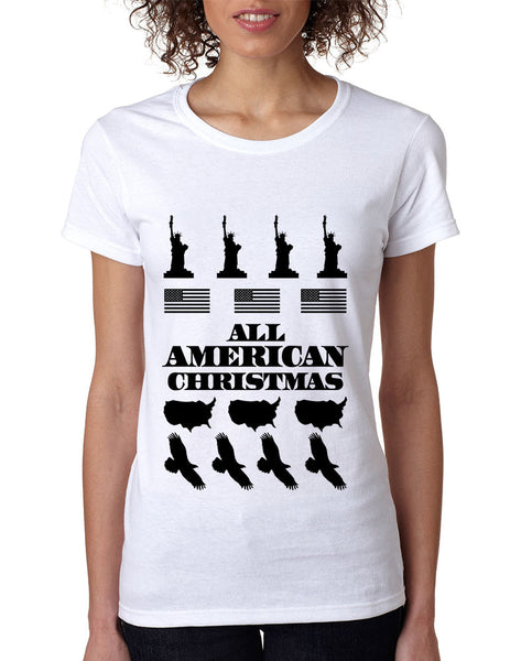 Women's T Shirt Merry American Christmas Ugly Sweater USA Top - ALLNTRENDSHOP - 4