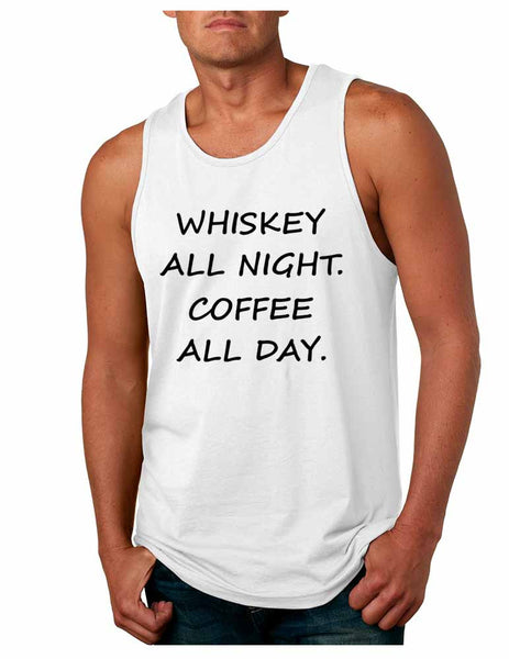 Men's Tank Top Whiskey All Night Coffee All Day Party Funny Top - ALLNTRENDSHOP - 2