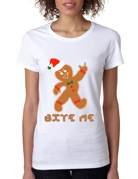 Women's T Shirt Bite Me Gingerbread Ugly Christmas Funny Cool Gift - ALLNTRENDSHOP - 4