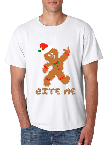 Men's T Shirt Bite Me Gingerbread Ugly Christmas Funny Gift Cool Tee - ALLNTRENDSHOP - 3
