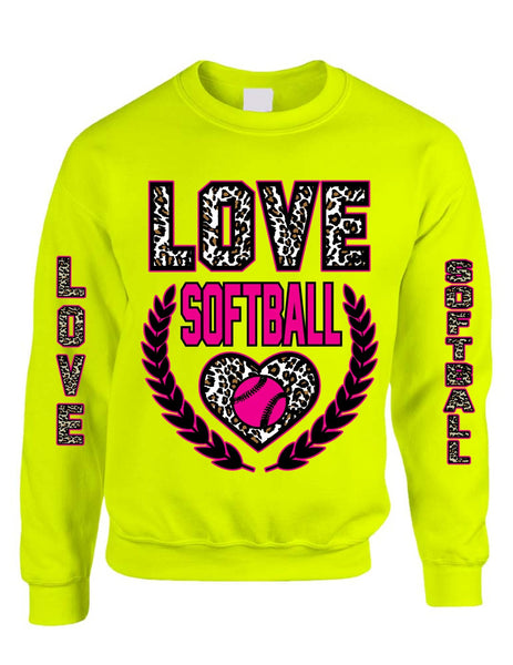Love Softball Leopard womens Sweatshirts - ALLNTRENDSHOP - 5