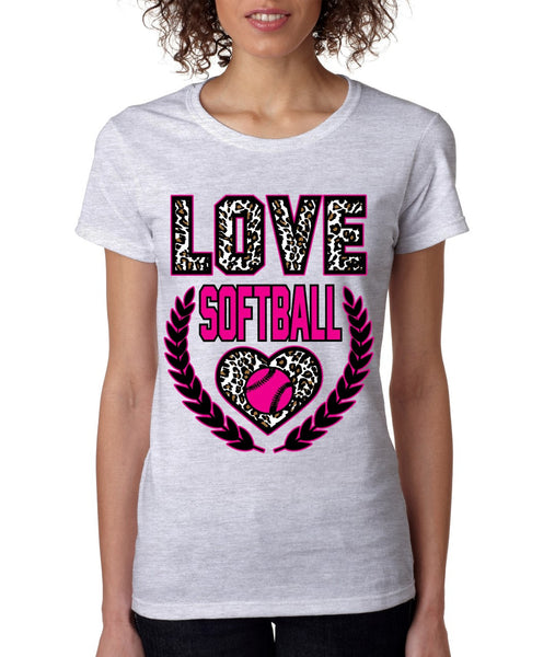 Love Softball Leopard women's T-Shirts - ALLNTRENDSHOP - 3
