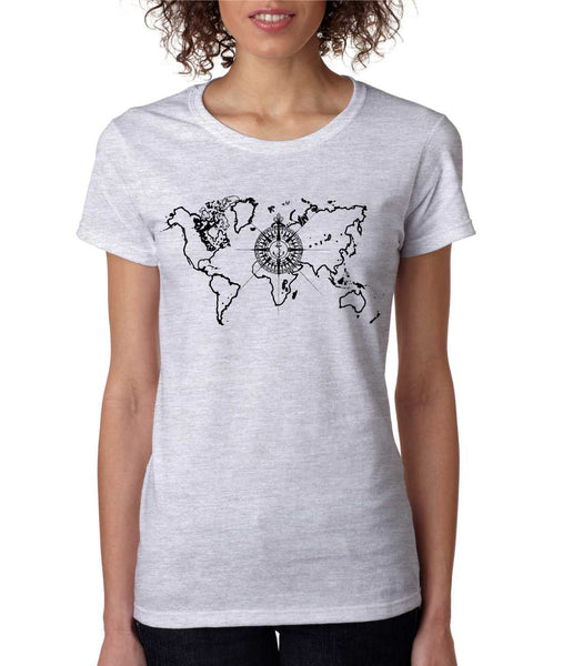 Women's T Shirt World Map Compass Cool Graphic Tee - ALLNTRENDSHOP - 3