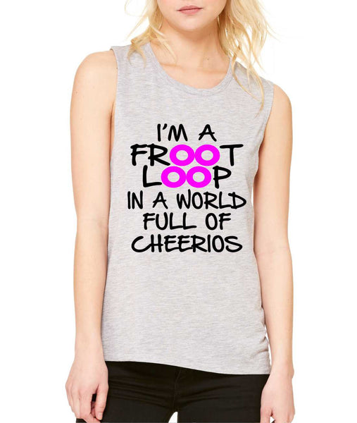 Women's Flowy Muscle Top I'm A Froot Loop Fun Cool Top - ALLNTRENDSHOP - 7