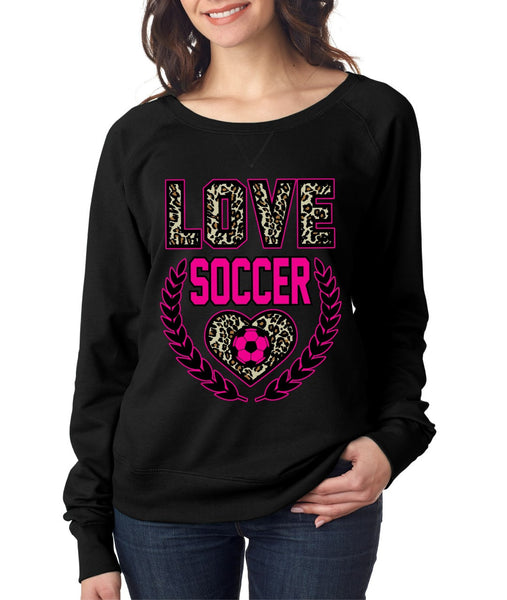 Love Soccer Leopard Womens long sleeve Pullover - ALLNTRENDSHOP - 3