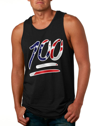 Men's Tank Top 100 Emoji USA Flag Trendy 4TH Of July Top Party Tee