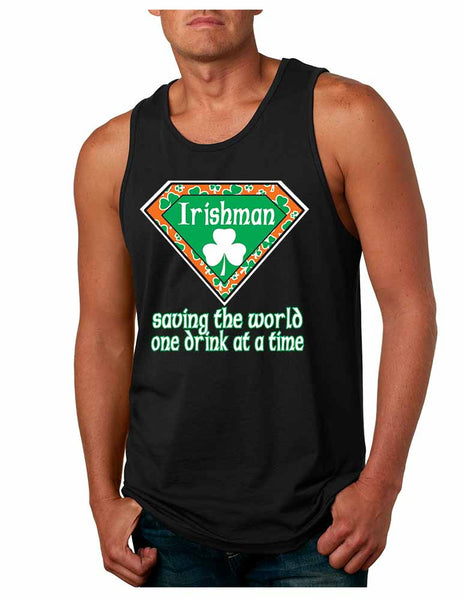 Irishman saving the world st patricks Men jersey tank - ALLNTRENDSHOP - 1