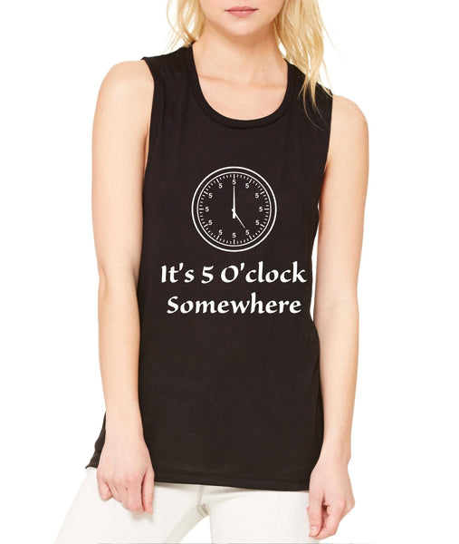 Women's Flowy Muscle Top It's 5 O'clock Somewhere Party Top - ALLNTRENDSHOP - 3
