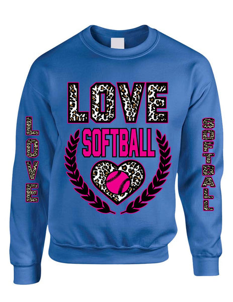 Love Softball Leopard womens Sweatshirts - ALLNTRENDSHOP - 2