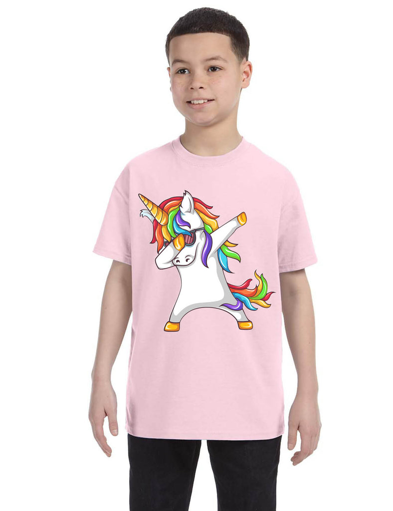 Kids Youth T Shirt Dabbing Unicorn Cute Girly Dancer Tee Rainbow Dab
