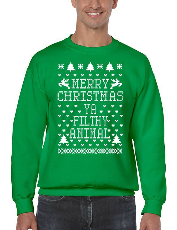 Merry Christmas Ya Filthy Animal Men's Crewneck Sweatshirt Ugly Christmas Sweaters - ALLNTRENDSHOP - 2
