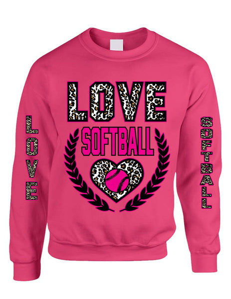 Love Softball Leopard womens Sweatshirts - ALLNTRENDSHOP - 3