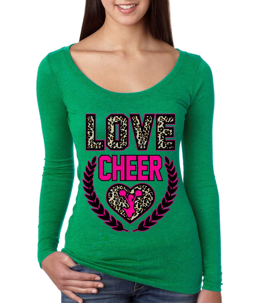 Love Cheer Leopard Womens Long Sleeve Shirt - ALLNTRENDSHOP - 1