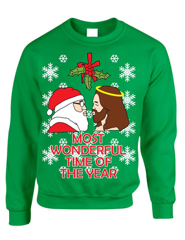 Most wonderful time Santa and Jesus Womens sweater - ALLNTRENDSHOP - 1