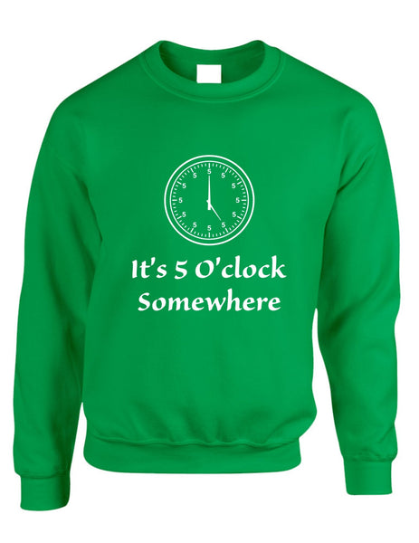 Adult Crewneck Sweatshirt It's 5 O'clock Somewhere Party Cool - ALLNTRENDSHOP - 3