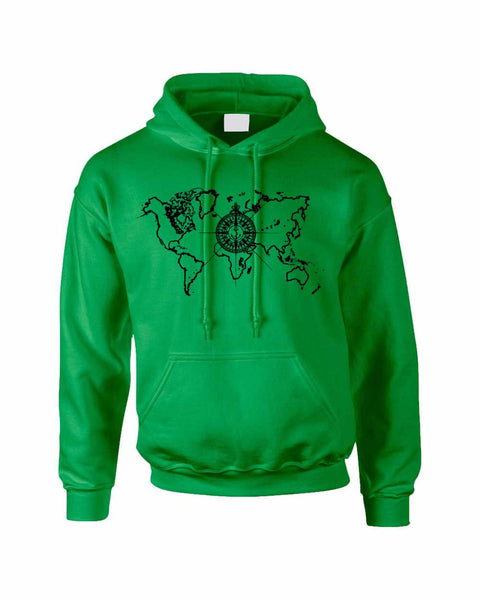 Adult Hoodie World Map Compass Cool Stuff Trendy Top - ALLNTRENDSHOP - 3