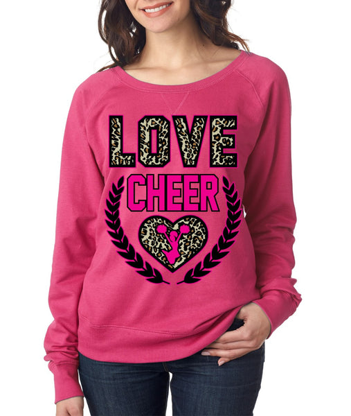 Love Cheer Leopard Womens long sleeve Pullover - ALLNTRENDSHOP - 2