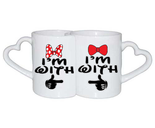 Love Mugs Im with him Im with her Couples Black mickey hands - ALLNTRENDSHOP